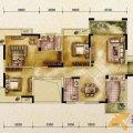 山水凤凰城C2户型3室2厅1卫1厨 三居 118㎡ 户型图