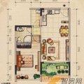 桂林奥林匹克花园左岸巴黎21J户型1室1厅1卫1厨 一居  户型图