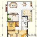百灵尚品一号一号B栋E户型3室2厅2卫1厨 三居 133㎡ 户型图