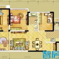 俊发时光俊园A1户型3室2厅1卫1厨  三居 95㎡ 户型图