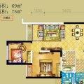 俊发时光俊园A2户型2室2厅1卫1厨 两居 69㎡ 户型图
