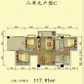 杜村商城杜村商城二单元C户型 三居 117.91㎡ 户型图