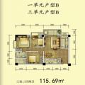 杜村商城杜村商城1、3单元B户型 三居 115.69㎡ 户型图