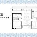卡伦贵族海景公寓两室一厅 两居 84㎡ 户型图