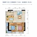广物滨江海岸三期玺湾 两居 74.48㎡㎡ 户型图
