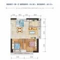 广物滨江海岸三期玺湾 两居 64.56㎡㎡ 户型图