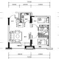 自贸柏林城B户型 2室2厅1卫1厨 两居 85.49㎡ 户型图
