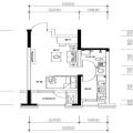 自贸柏林城C户型 1室1厅1卫1厨 一居 47.63㎡ 户型图
