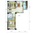 海城广场全明通透两居室 两居 79.91㎡ 户型图