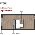 利物浦市中心学生公寓 一居  户型图