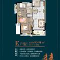 惠州 碧桂园太东公园上城三房两厅一卫一阳台 三居 93-94平米㎡ 户型图