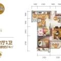 清水湾碧桂园珊瑚宫殿四期海上繁花Y035B户型 2房2厅1卫 74㎡ 两居 74㎡ 户型图