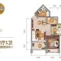 清水湾碧桂园珊瑚宫殿四期海上繁花 Y035C户型 2房2厅1卫 69㎡ 两居 69㎡ 户型图