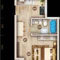 上谷居退台公寓5C 一居 38.09㎡ 户型图