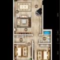 上谷居退台公寓3A 两居 133.55㎡ 户型图