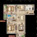 上谷居退台公寓7A 三居 143.67㎡ 户型图