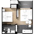 芭提雅威尼斯人公寓精装修 两居 49平米㎡ 户型图
