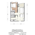 Supalai Oriental Sukhumvit 39 / 曼谷东方国际公寓 一居 49.5㎡ 户型图
