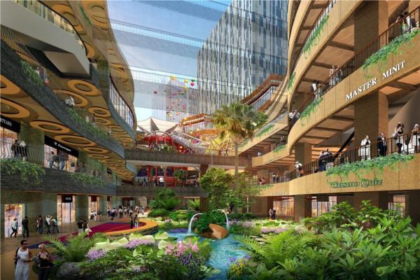 风情设计理念,半开放式商城无任何商业死角,东西区商业通过连廊相连