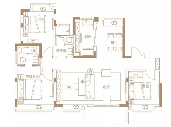 5,约120平 四房两厅两卫
