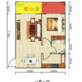 豐都雪玉山·四季香山華庭一室一廳 一居 53平㎡ 戶型圖