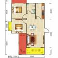 豐都雪玉山·四季香山華庭兩室一廳 兩居 70.28平㎡ 戶型圖