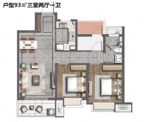 户型图 93㎡三室两厅一卫 105平 三室两厅一卫 【交通配套】: 溧水
