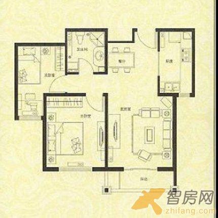 2室1厅 春和景明 三居 户型图 高清图片