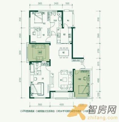 西山国际城三居室户型图