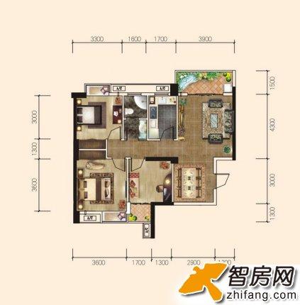 5栋c10户型 爵士湘 三居 户型图 高清图片