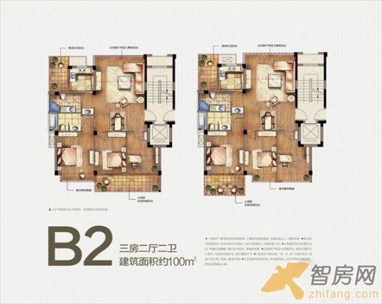 雅戈尔西溪晴雪 三房二厅二卫100平米b2户型图 三居 户型图