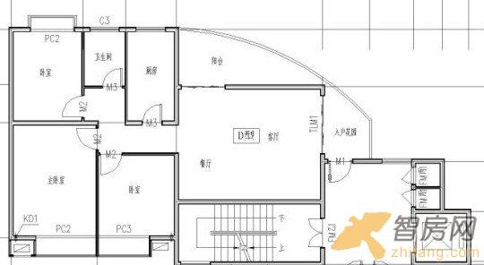 对此照片的描述:d户型三房二厅一卫