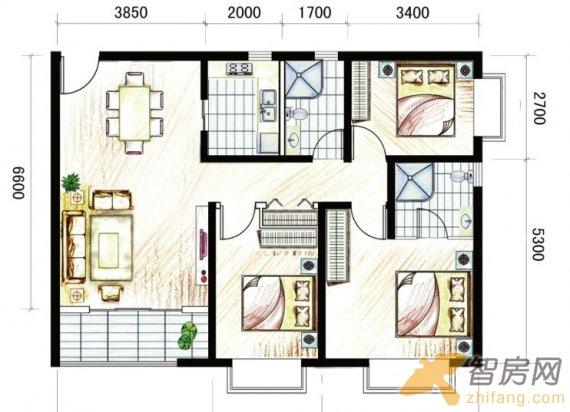 马街摩尔城 t5-c 三室两厅两卫一阳台 三居 110m 户型图